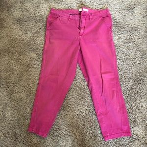 Anthropologie Hot Pink Relaxed Chinos